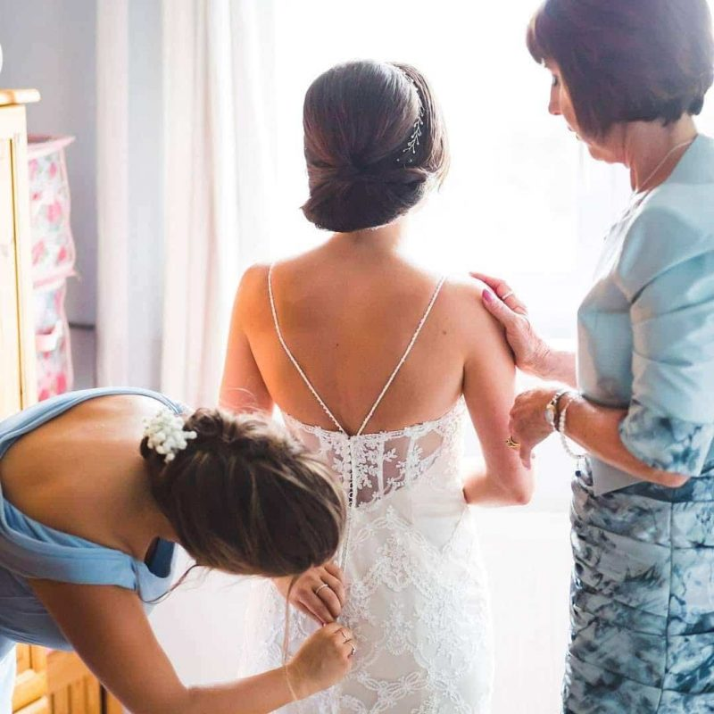 sleek hair up wedding style