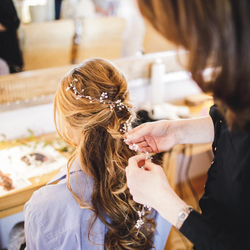 half up half down bridesmaid hair gower